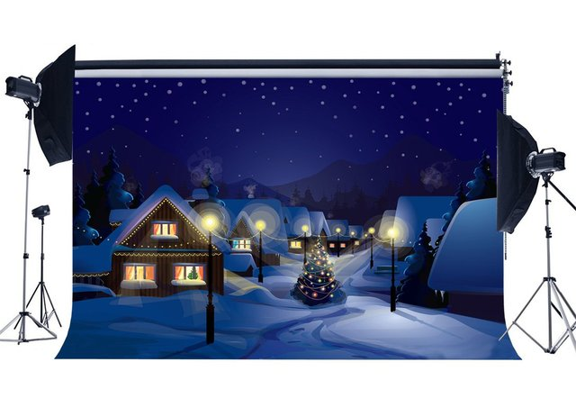 Photography Backdrop Merry Christmas Tree Rustic Village Snow Covered Landscape Scene Xmas Background