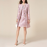 Luxury 2018 Spring Autumn Women Rose Jacquard Embroidery Long Trench Coat Elegant Single Breasted Windbreaker with Dress Twinset