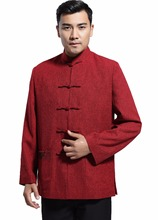 Shanghai Story Blend Woolen Chinese Vintage jacket Men's Clothing National Trend Jacket Coat Outerwear Tang Suit Red