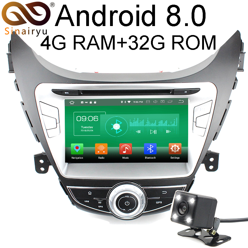 Sinairyu 4G RAM Android 8.0 Car DVD For Hyundai Elantra Avante I35 2011 2012 2013 Octa Core 32G ROM Radio GPS Player Head Unit farcar s130 hyundai elantra 2011 2013 android w360