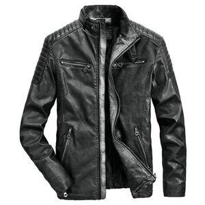 Image 4 - High Quality Faux Leather Jacket Men Vintage Autumn Winter New Motorcycle Jacket Men Business Casual Mens Biker Jacket Coat