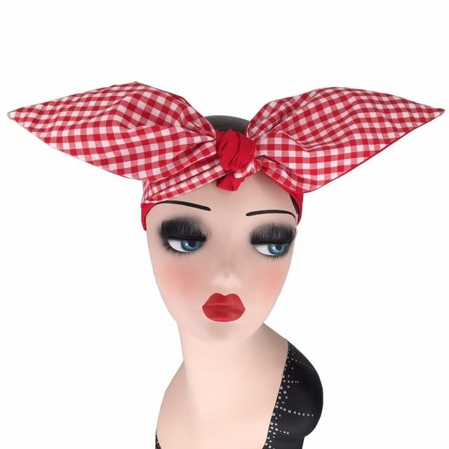 6b1b2e5da680 women vintage 50s pinup white red gingham plaid headband scarf bow tie  bandans wire wrap head band rockabilly hair accessories