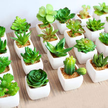 39Styles Green Artificial Succulents Plants for Home Garden Decoration Wedding Plants Wall Flower Arrangement Bonsai Fake Plants(China)