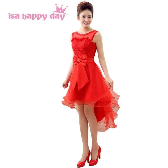 b7e3a5161 Moderno doce 16 vestido de dama de honra vermelho curto frente tempo de  volta alta baixa