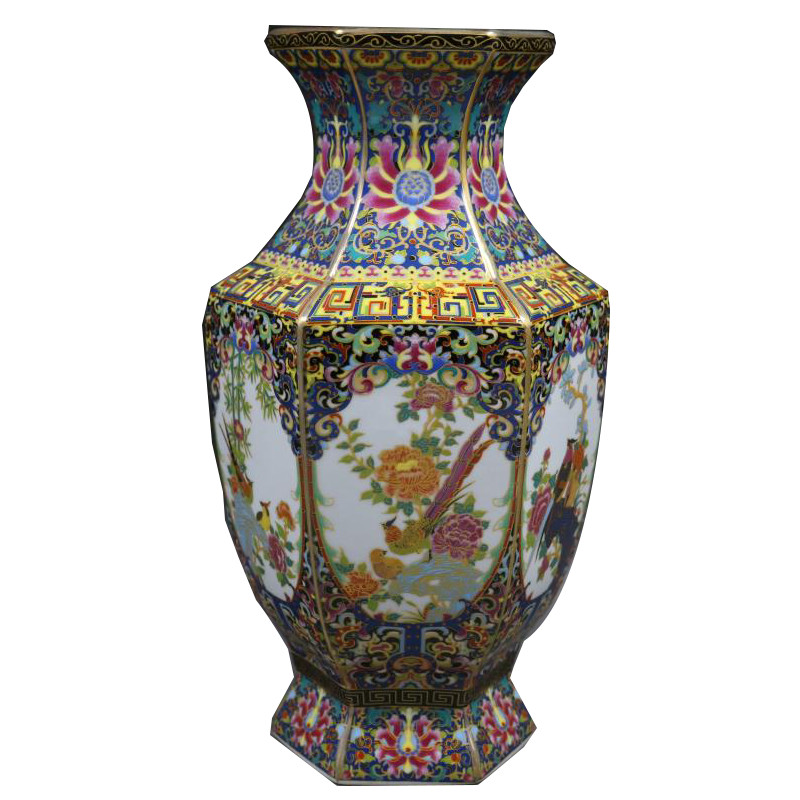 Qing Qianlong Enamel Colorful Flowers and Birds Hexagonal Vase Antique Home Decoration Porcelain Decoration Antique CollectionQing Qianlong Enamel Colorful Flowers and Birds Hexagonal Vase Antique Home Decoration Porcelain Decoration Antique Collection
