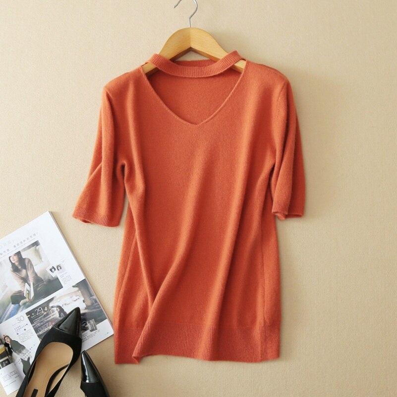 Femmes 100% laine pull automne mode col en v à manches courtes pulls tricotés chandails S-XXL