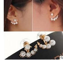 wholesale 2 Pair jewelry Brincos earring Pendientes The beauty of the birth Sarah Han Yese with diamond pearl earrings Korean