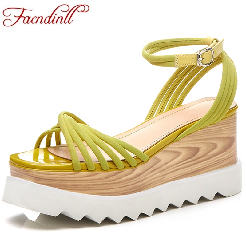 FACNDINLL new fashion summer muffin bottom sandals wedges platform high heels genuine leather lace-up women dress retro shoes facndinll new women summer sandals 2018 ladies summer wedges high heel fashion casual leather sandals platform date party shoes