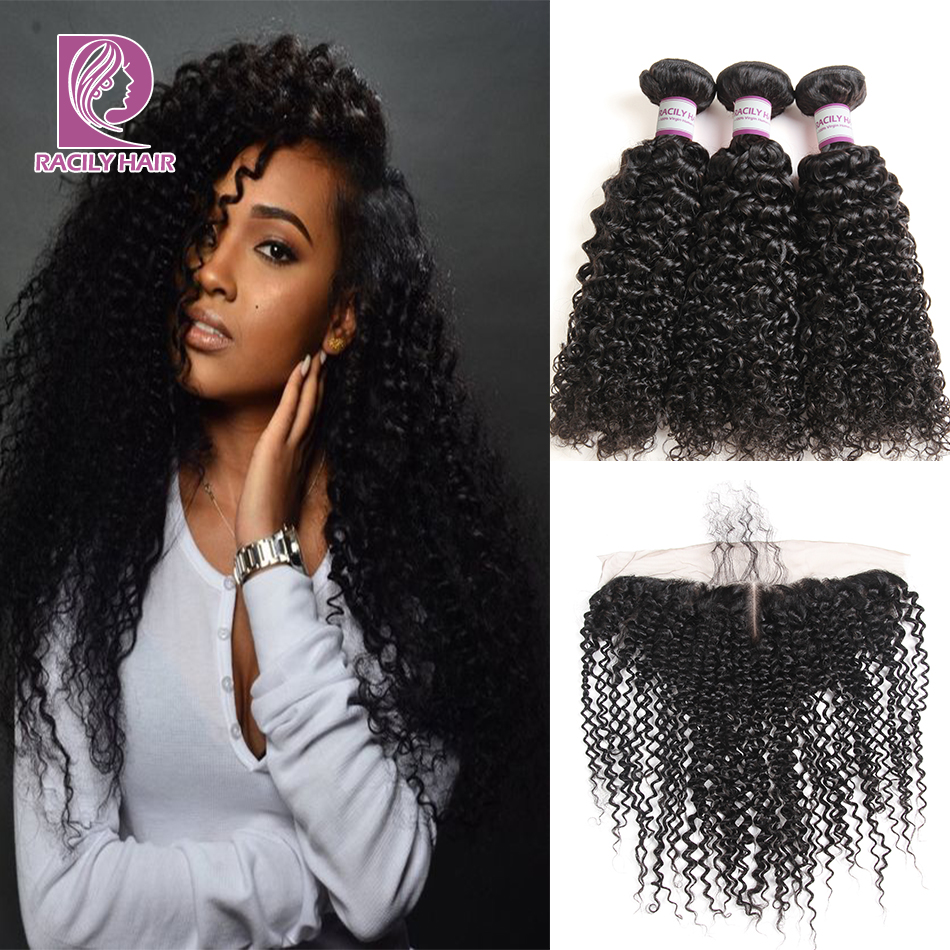 Racily Hair Brazilian Kinky Curly Bundles With Frontal 13x4 Human Hair Bundles With Lace Frontal Closure Remy Weave With Frontal-in 3/4 Bundles with Closure from Hair Extensions & Wigs    1