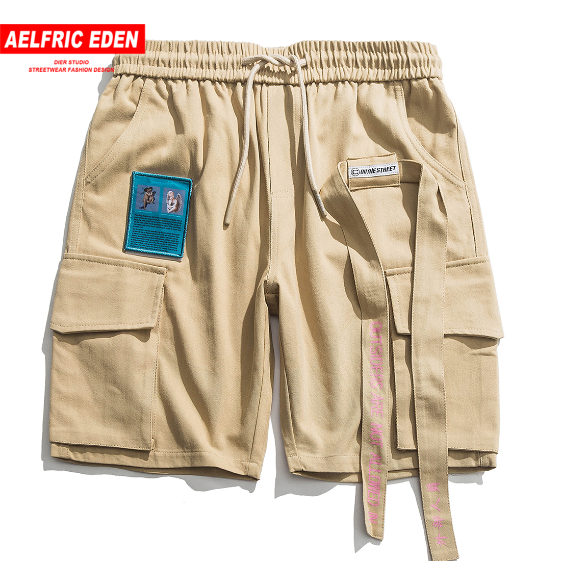 Aelfric Eden Cargo Shorts Men Ribbons Letter Embroidery Hip Hop Knee Length Fashion Summer Streetwear 2019 Casual Short Joggers