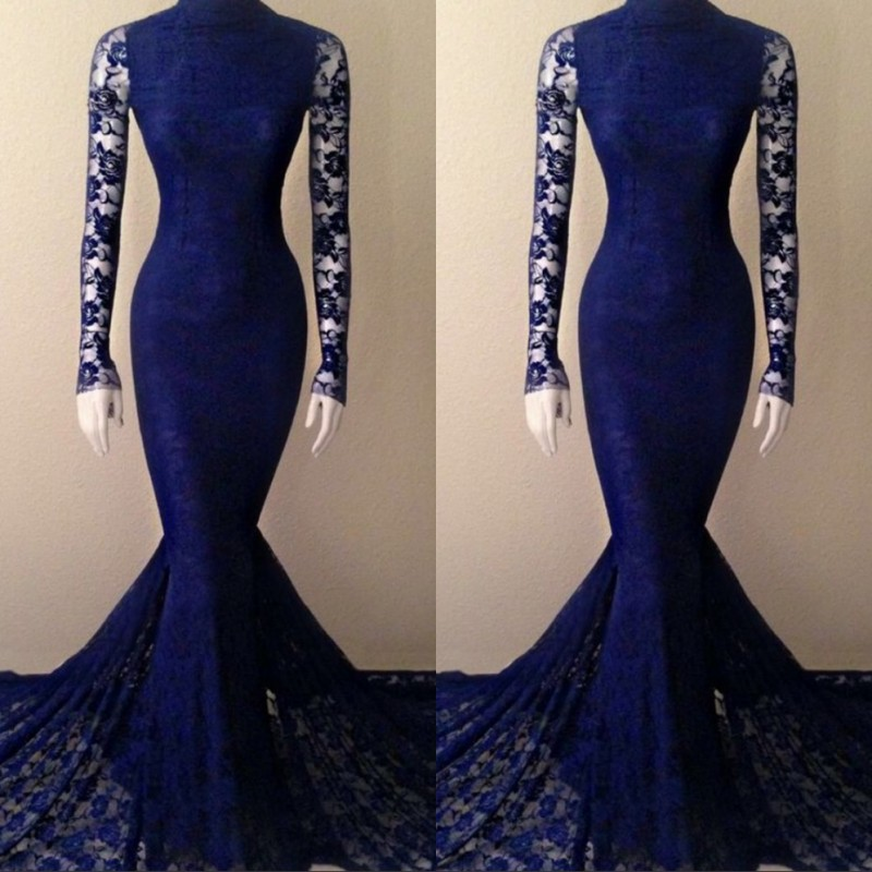Royal Blue High Neck Long Sleeves Court Train Mermaid Lace Evening Dresses Lace Mermaid Party Gowns