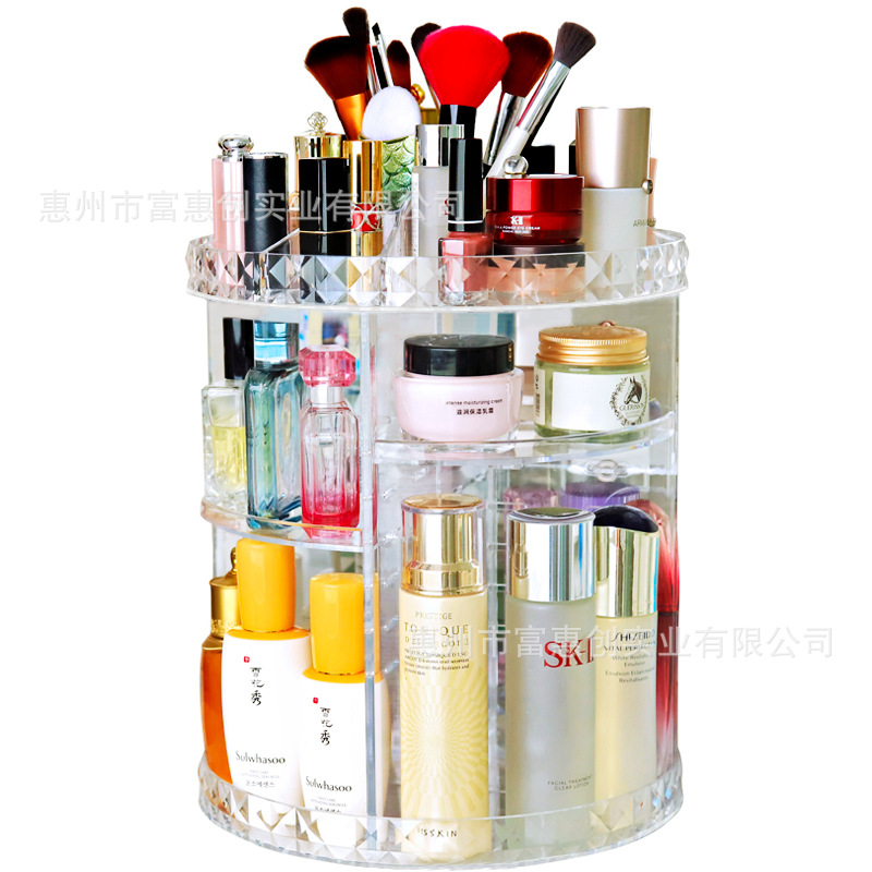 360 Rotating Makeup Organizer Acrylic Box Dresser Lipstick Skin Care Products Shelf Diamond Pattern Cosmetics Receiving Box in Storage Boxes Bins from Home Garden