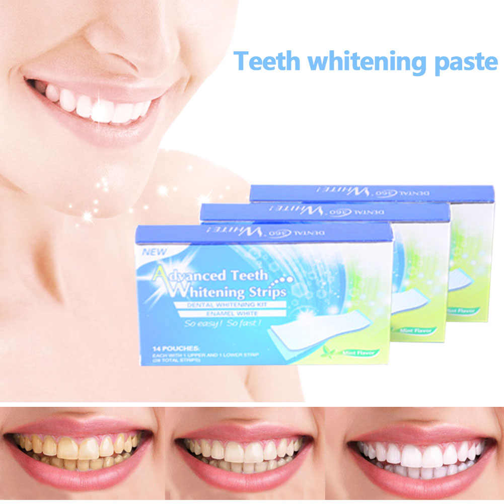 Hot sale 14Pairs/28 Pcs 3D White Gel Teeth Whitening Strips Oral Hygiene Care Teeth Strips Whitening Dental Bleaching Tools