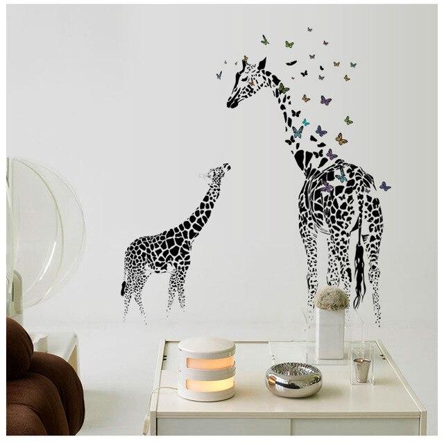large black giraffes butterflies arts wall stickers women house home