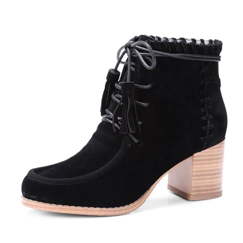 Chaude khaki À Cuir 2018 Carré Mode Hauts Chaussures marron Rond Casual Bout Bottes Vache Daim Antumn Noir Lacent Gland Cheville Femmes Smirnova Talons En Bwd6xB