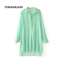 2017 Women vintage vestidos Classical Green Striped Long blouse shirt Casual fashion Side Slit loose femininas blusas tops