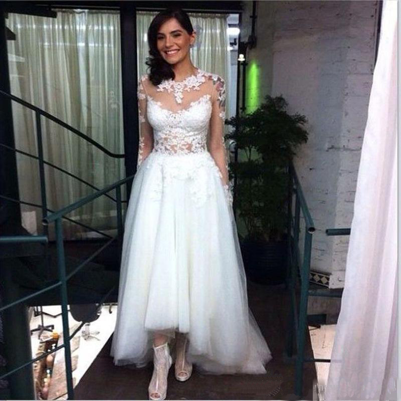 Plus Size High Low Wedding Dresses With Long Lace Sleeve ...
