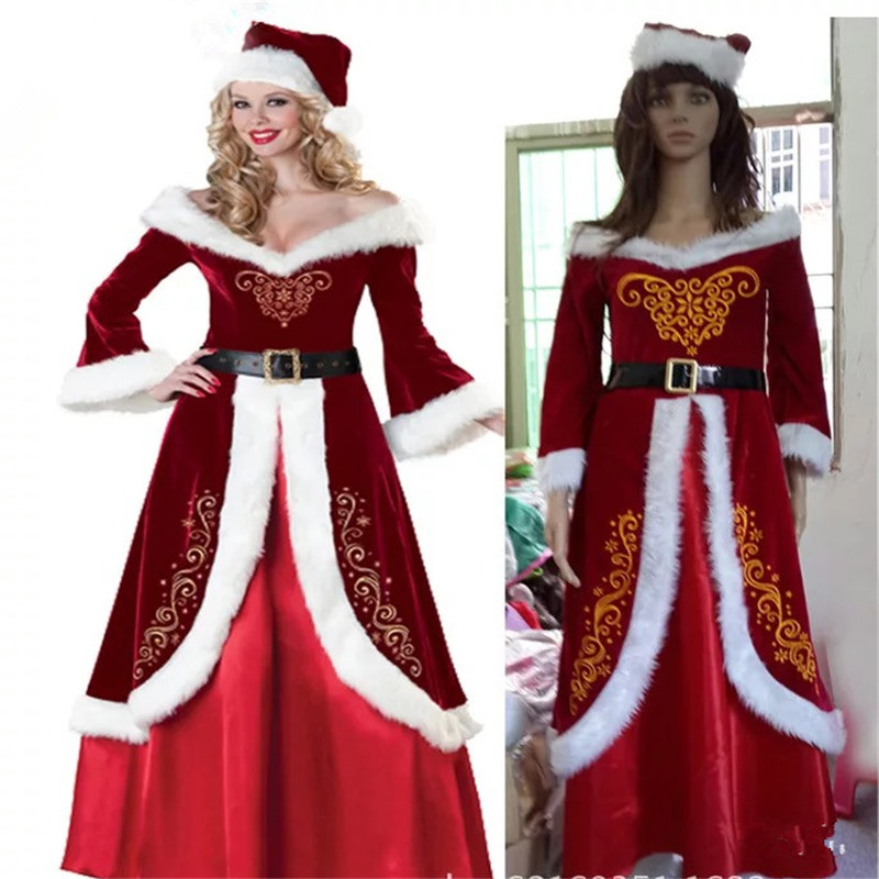 2018 new high quality Red Long Sleeve White fur Christmas Dress Xmas Red  clothing Adult Women Santa Claus Costumes