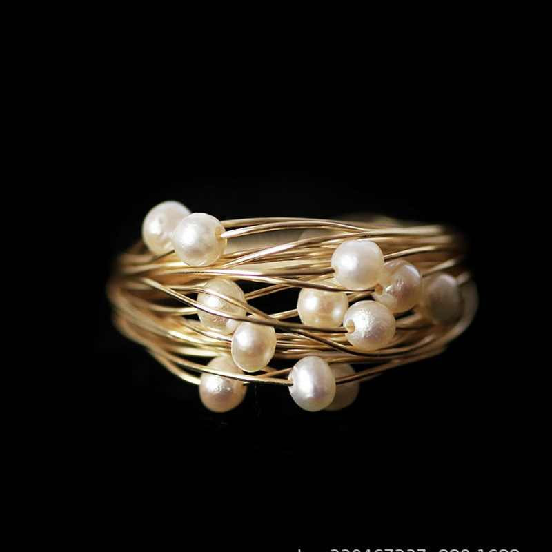 Natural Fresh Water Baroque White Pearl Rings For Women Handmade Engagement Ring Luxury Fine Jewelry Bague Female