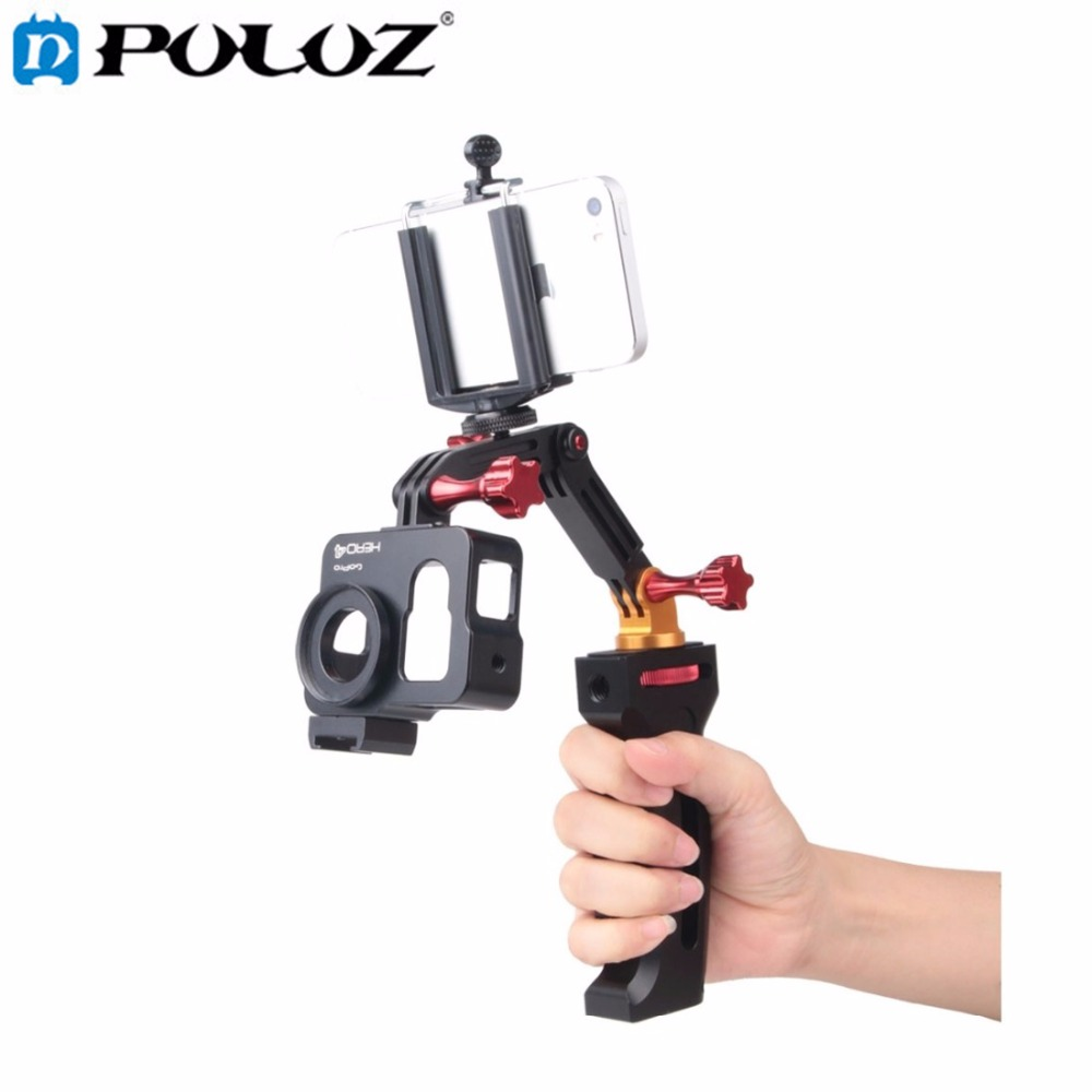 3 Way Handheld Mobile Phone Monopod Aluminium Alloy Selfie Stick Tripod Stabilizer for GoPro HERO5 HERO4 Session/HERO5 4 /SJCAM