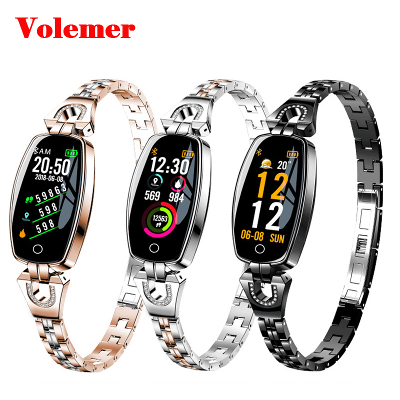 Volemer H8 Luxury smart wristband for women Heart Rate Sleep Monitor Smart Band best gift for girl Lady Xiaomi iphone Huawei