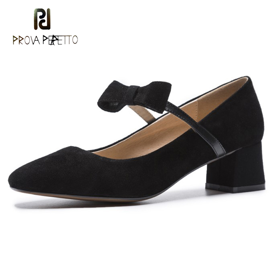 Prova Perfetto brand women shoes mary jane butterfly knot thick med heel women pumps square toe shallow ladies dress shoes suede цена