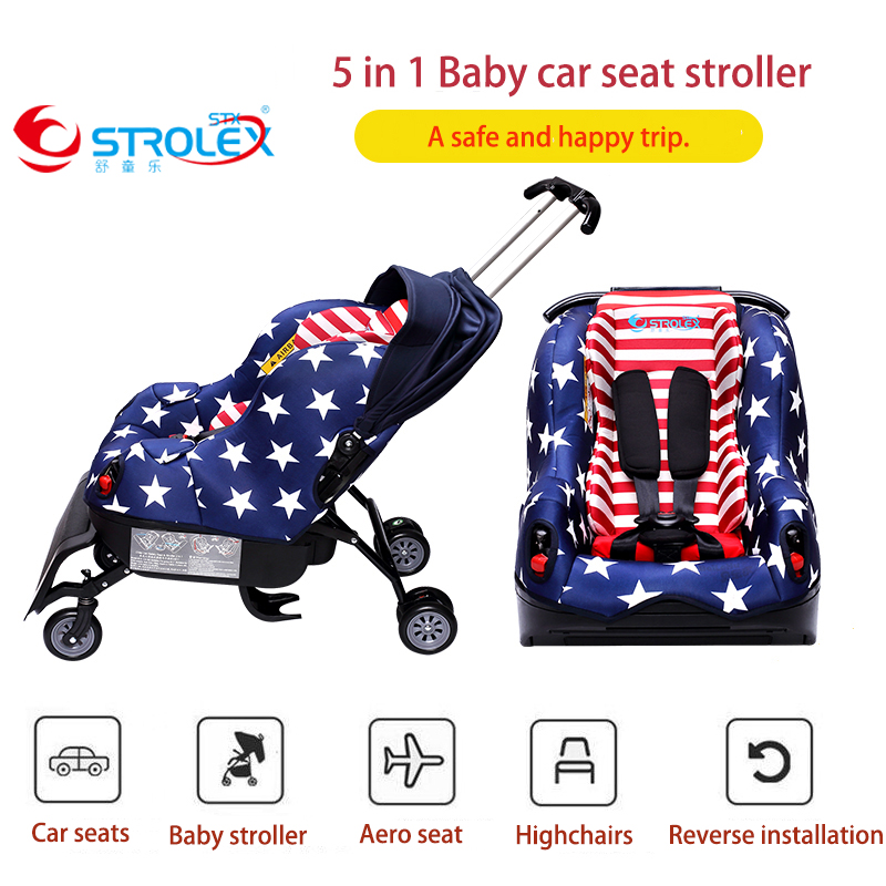 Strolex 5 in 1 Baby Car Seat Stroller Hard Interface Forward And Backward Sitting And Lying Baby Car Seat Baby Booster Seat