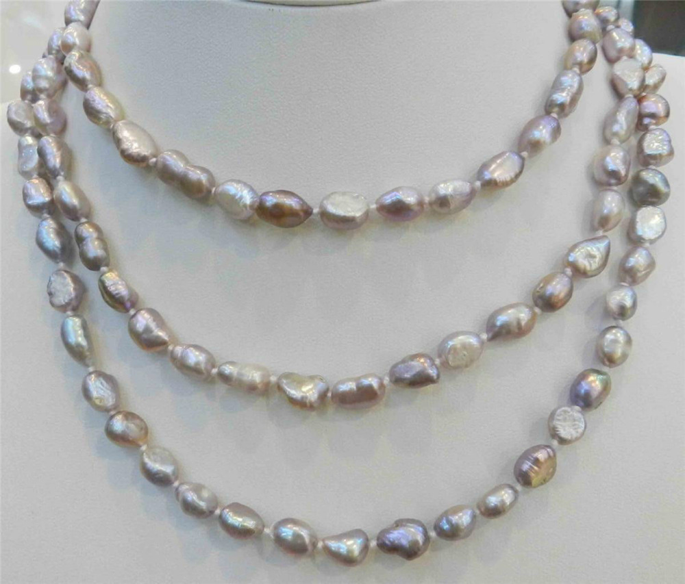 Free Shipping Long 48 Inches 7 9mm Purple Akoya Cultured The Wet Brush Gemstone Abalone Pearl Necklace 18kgp Aaa002