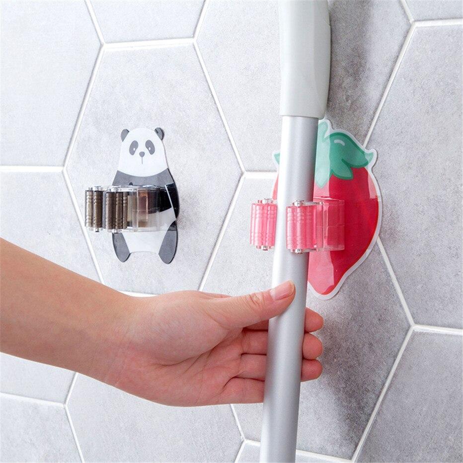 Mop Broom Holder Bathroom Tools Storage Rack Kitchen Organizer Wall Mounted Sticker Hook Umbrella Shelf Hanger2