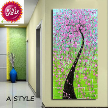Hand-painted modern home decor wall art picture green background Pink flower tree thick palette knife oil painting  on canvas