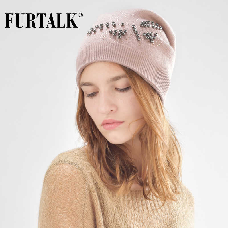 4142f5dea9df71 FURTALK rabbit fur winter hat for women wool beanie hats for girls with  pearl butterfly B004