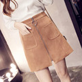 2017 spring high-waist short skirt suede waist high waist zipper skirt a-type skirt
