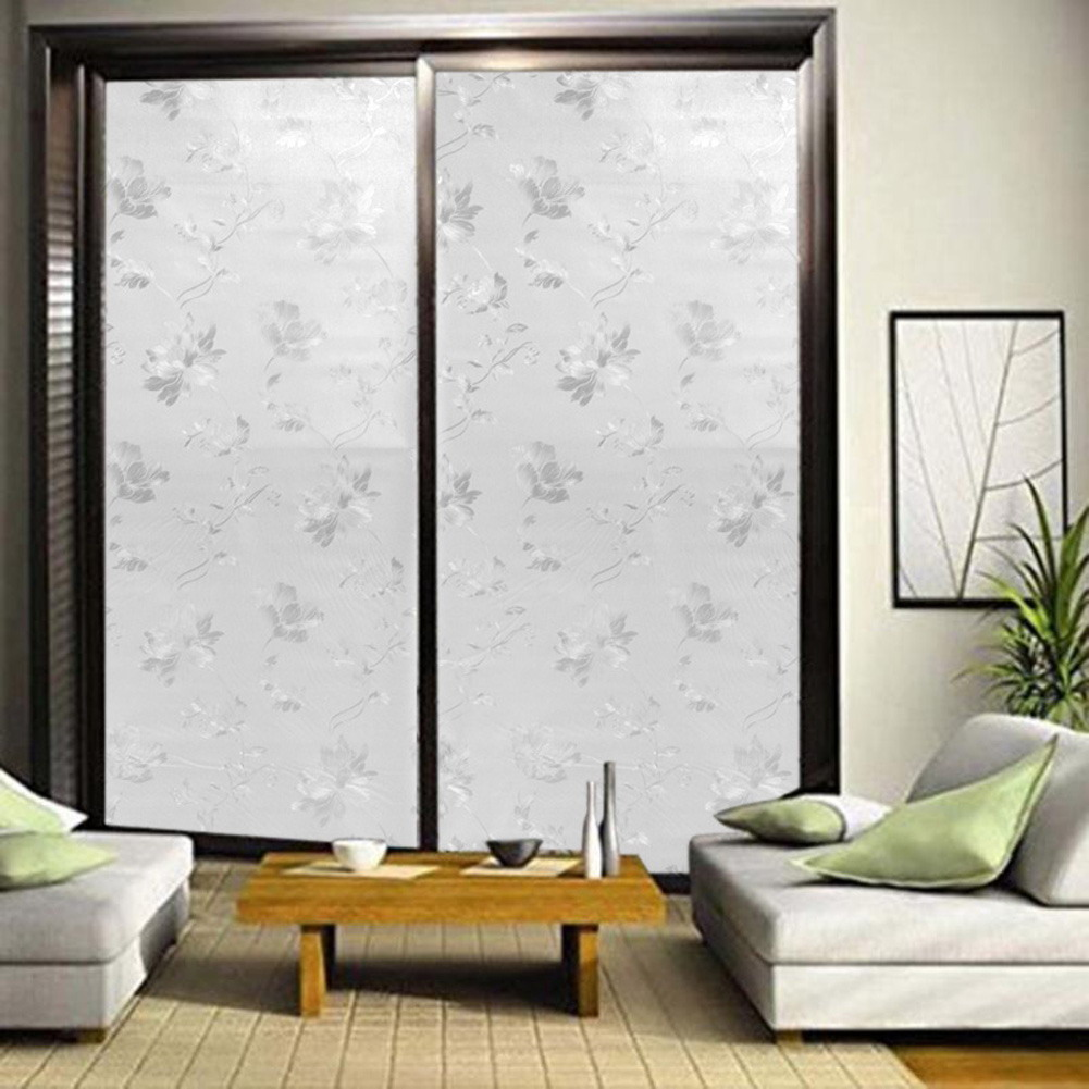 45x100cm Elegant Flower Decorative Self Adhesive Static Privacy