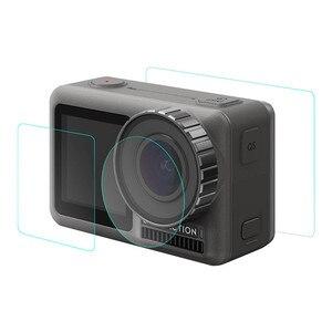 Image 2 - 1 ensemble de Film Pet clair trempé double écran pour DJI OSMO + protecteur dobjectif pour DJI OSMO accessoires de caméra daction ultra mince L0525 DJ