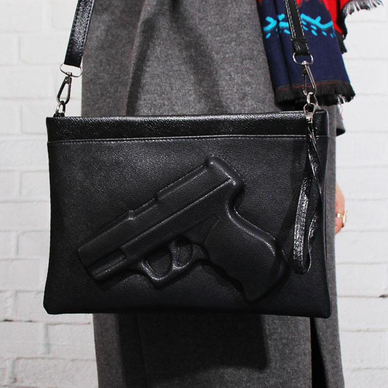 chains women bag gun Shape women Messenger Bags cell phone pocket Shoulder Envelope bag pistol Clutches With Strap candy