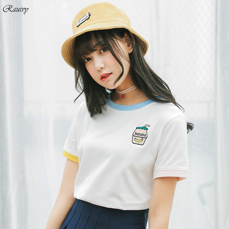 c0a09a5a4d women tops 2019 korean summer style retro harajuku shirt cute embroidery  letters banana kawaii milk bottle stitching bts t-shirt