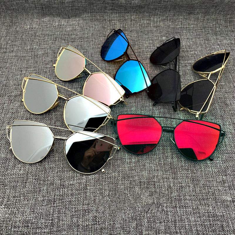 Red-Cat-Eye-Brand-Designer-Sunglasses-Women-Double-Deck-Metal-Frame-Vintage-Flat-Sun-Glasses-Mirror