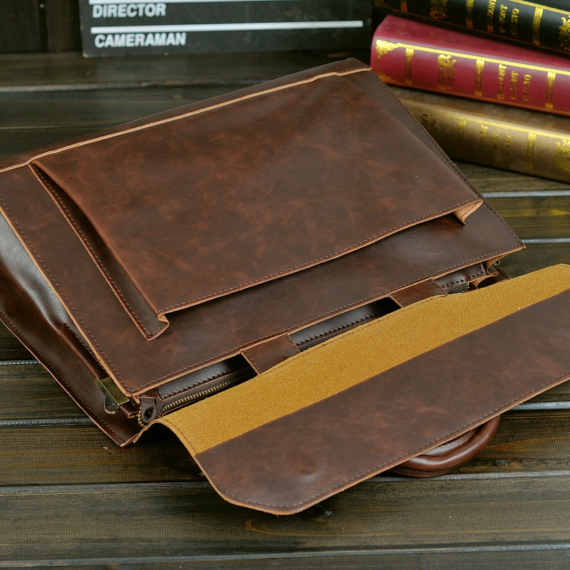 HTB1tIaoatzvK1RkSnfoq6zMwVXaK Retro Men's Briefcase Crazy Horse Leather Laptop Handbag Designer Shoulder Bags Business Messenger laptop Bag men Crossbody bags