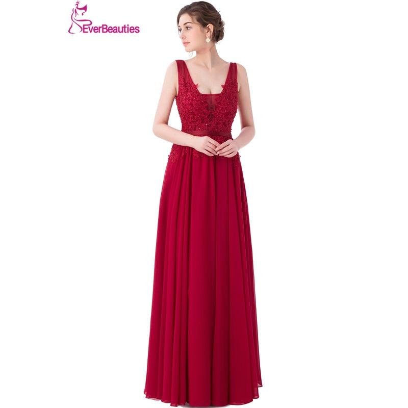Jubah De Soiree gaun malam, Panjang renda Backless panjang lantai, Anggur merah Abendkleider 2019 sifon gaun pesta malam Kaftan