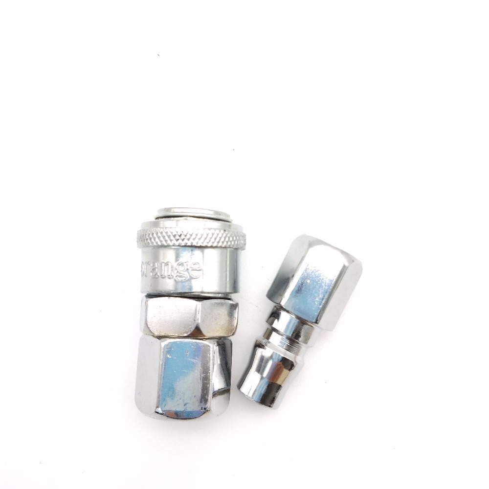 3 pcs 1/4 Pneumatic Hoses Air Compressor Pneumatic Components Quick Connector Metal Fittings