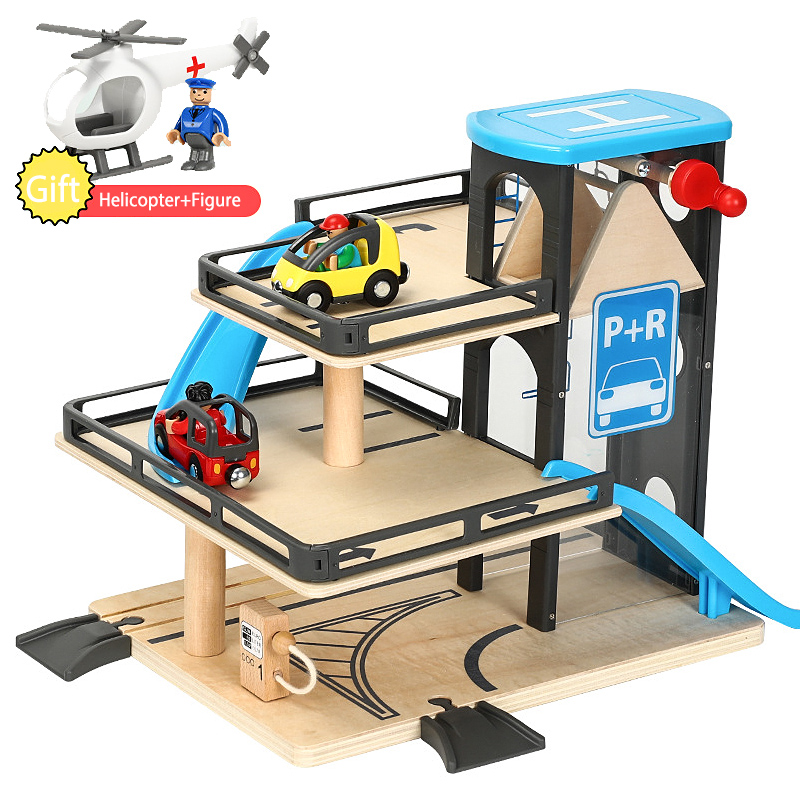 Wooden Track Car  Lifts Parking Compatible With Wooden Train Track Children's Inertial Hand Sliding Toys