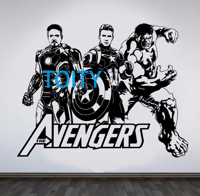 Avengers Wall Decal Iron Man Captain America Hulk Vinyl Sticker Movie Poster Decor Superhero Art Mural  sc 1 st  AliExpress.com & Avengers Wall Decal Iron Man Captain America Hulk Vinyl Sticker ...
