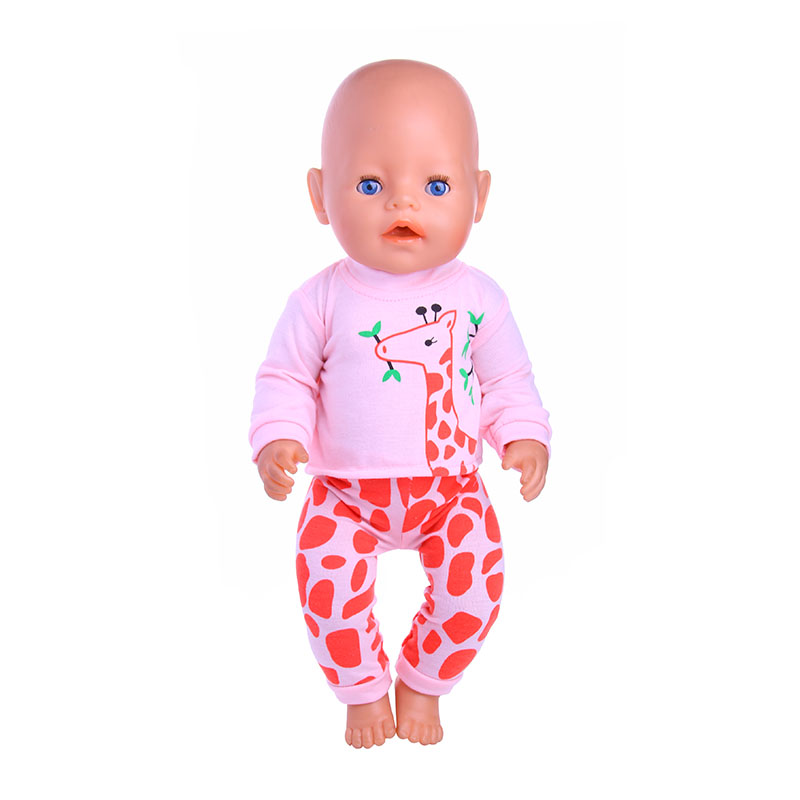 Giraffe pattern Doll Clothes Wear Fit 43cm Baby Born zapf Doll,Children best Birthday Gift 2color choose leisure dress doll clothes wear fit 43cm baby born zapf children best birthday gift only sell clothes