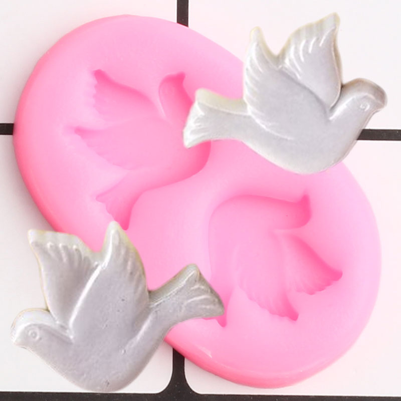 3D Doves Silicone Molds Pigeon Cupcake Topper Fondant Mold DIY Wedding Cake Decorating Tools Candy Clay Chocolate Gumpaste Mould