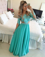 Long Sleeve Evening Prom gown Turquoise Chiffon Nude Tulle Appliques Floor Length vestidos de festa Mother of the Bride Dresses