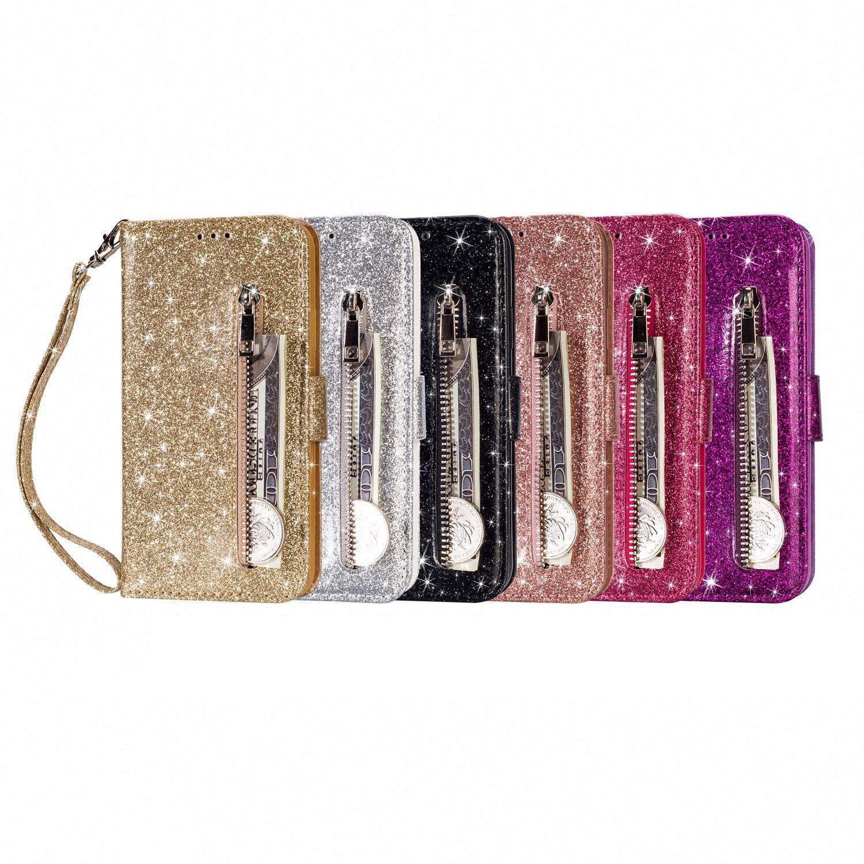 HTB1tIc2c8Kw3KVjSZFOq6yrDVXap Bling Glitter Case For Samsung Galaxy S10e Note 8 9 S10 Plus S9 S8 Plus S7 Edge S6 Leather Flip Stand Zipper Wallet Cover Coque