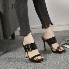 Fashion Women Shoes 2019 New Half Slippers Solid Color Snake Pattern Buckle Simple High Heels Sandals Wear Comfortable Sandals free shipping new aluminum alloy 8 colors motorcycle folding extendable brake clutch levers for bmw g650gs 2011 2012