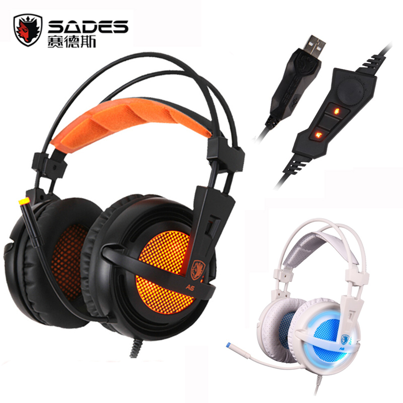 Sades A6 USB Gaming Headphones Profissional Over-Ear Game Headset 7.1 Surround de Som Com Fio Microfone para Computador PC Gamer
