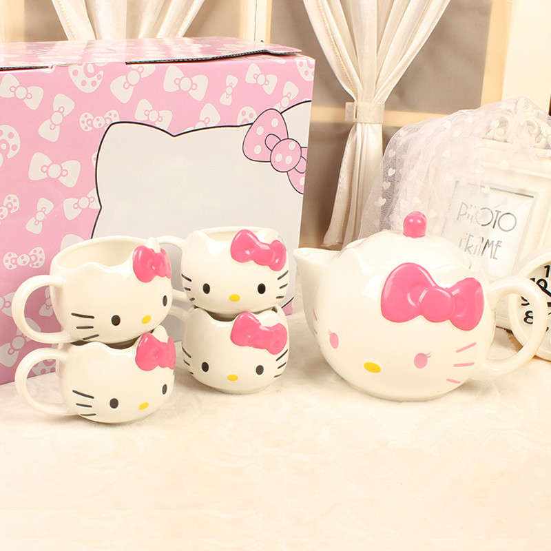 5pieces/lot Hello Kitty Teapots Cup Set Novelty Coffee Milk Tea Cup Pot Porcelain Tea Set Office Water Mugs 1 Pot 4 Cups