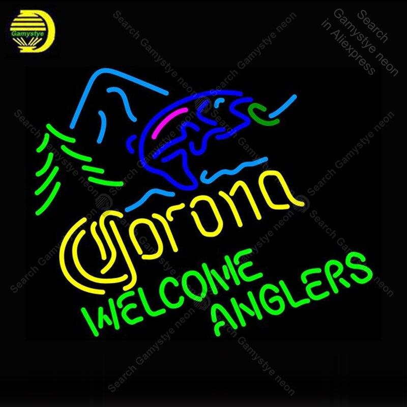Enseigne néon pour Corona poisson bienvenue pêcheurs néon lampe Pub affichage bière magasin néon éclairer enseigne murale enseigne néon pour chambre Letrero